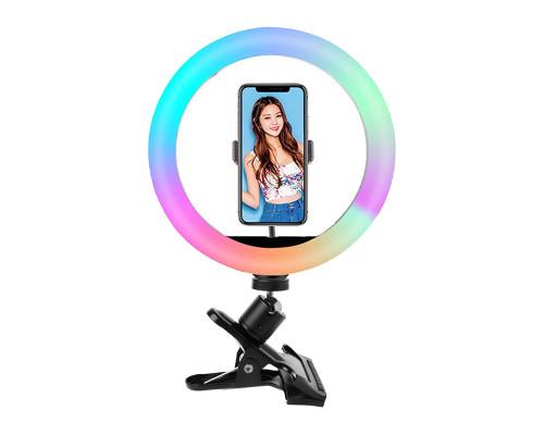 Кольцевая RGB селфи лампа SH-126r с держателем телефона на прищепке с шарниром, диаметр 26 см