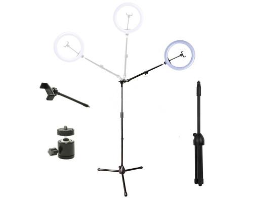 Кольцевая лампа ML-030 на угловом штативе с держателем телефона, шарниром 3/8, диаметр 30 см