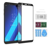 Защитное стекло для Samsung Galaxy A6 Plus (вид - 5D полная проклейка, черная рамка, в комплекте салфетка, стикер и гель для подклейки)