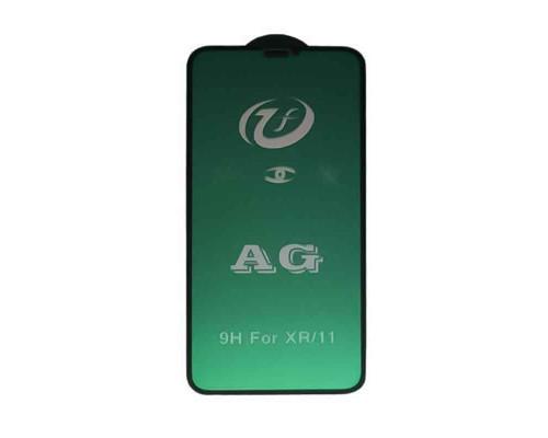 Защитное стекло для iPhone XR (вид — 5D, черная рамка, матовое, в комплекте салфетка и стикер)