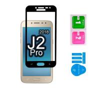 Защитное стекло для Samsung Galaxy J2 Pro 2018 (вид - 3D, черная рамка, в комплекте салфетка и стикер)