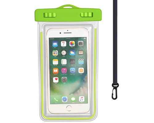 """Чехол-сумка водонепроницаемый для телефона до 6.5"""", универсальный, салатовый"""