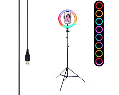 Кольцевая лампа RGB MJ20 LED с держателем для смартфона, шарниром, штативом, 15 цветов, диаметр 20см
