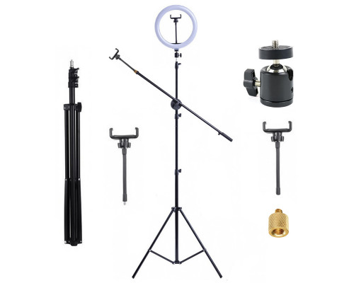 Кольцевая лампа JBH-4815 со штативом, журавлем, гибкими держателями телефона, шарниром, диаметр 26 см