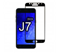 Защитное стекло для Samsung Galaxy J7 2018 (вид - 3D, черная рамка, комплектация эконом)