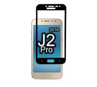 Защитное стекло для Samsung Galaxy J2 Pro 2018 (вид - 3D, черная рамка, комплектация эконом)