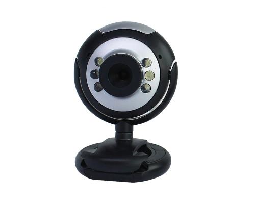 Веб-камера VGA Z09 со встроенным микрофоном, черно-серебристая
