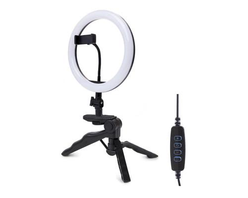 Светодиодная кольцевая лампа M20 со встроенным шарниром, настольной треногой, держателем телефона, диаметр 20 см