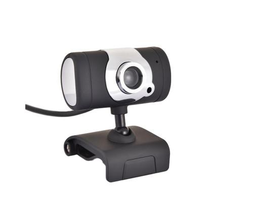 Веб-камера VGA со встроенным микрофоном, черно-серебристая