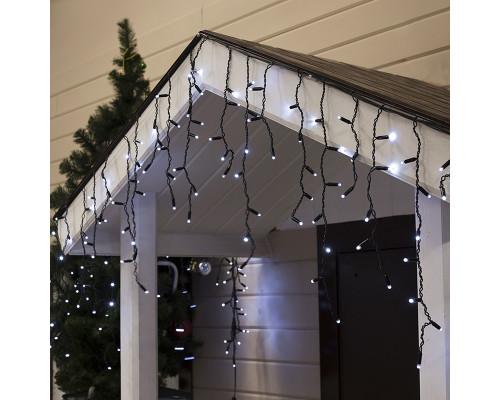 Гирлянда Бахрома уличная 75 ламп, 300х70 см, белый свет, черный провод