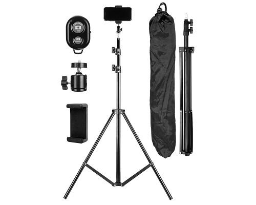 Напольный штатив JBH HD6819 с держателем для телефона, шарниром, чехлом, пультом Bluetooth, высота 1.9 м