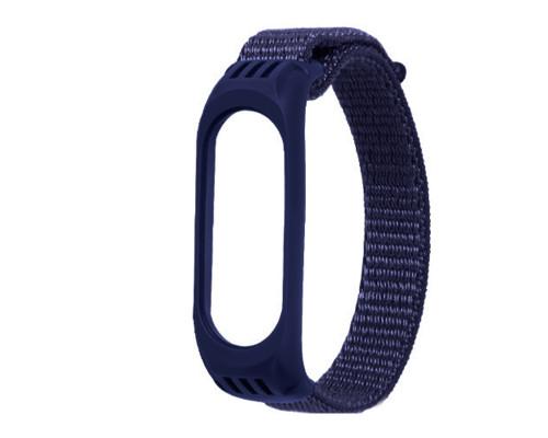Ремешок для Xiaomi Mi Band 3/4/5 нейлоновый, синий