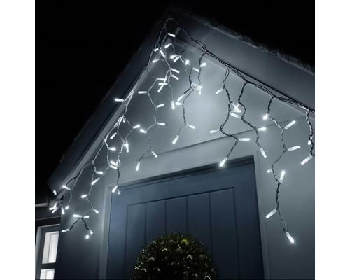 Гирлянда Бахрома уличная 75 ламп, 300х70 см, белый свет, белый провод