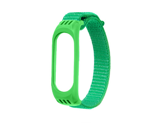 Ремешок для Xiaomi Mi Band 3/4/5 нейлоновый, зеленый