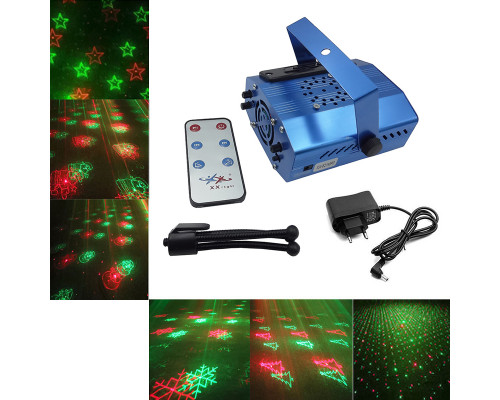 Новогодний лазерный проектор Звездный Дождь для дома XX-621MP3 с поддержкой MP3 файлов, 6 рисунков