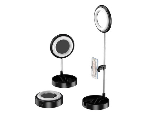 Кольцевая лампа-зеркало для макияжа JM-T1 настольная с аккумулятором, лотком, диаметр 16 см, черная