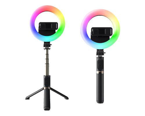Штатив-монопод MJ07 с кольцевой RGB лампой 16 см, Bluetooth пультом, длина 85 см