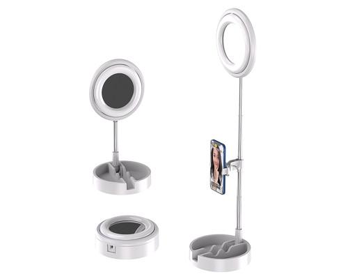 Кольцевая лампа-зеркало для макияжа JM-T1 настольная с аккумулятором, лотком, диаметр 16 см, белая