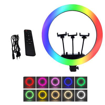 Кольцевая селфи лампа RGB LED MJ18 с тремя держателями для смартфона диаметр 45 см