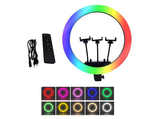 Кольцевая селфи лампа RGB LED MJ18 с тремя держателями для смартфона, диаметр 45 см