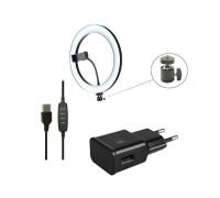 Кольцевая селфи лампа CXB-260 с держателем для смартфона, адаптером, диаметр 26 см