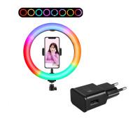 Кольцевая лампа RGB LED MJ26 с держателем для смартфона, 15 цветовых схем, адаптером, диаметр 26 см