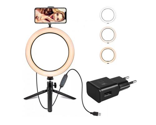 Кольцевая лампа на треноге с шарнирным держателем для телефона, адаптером, диаметр 20 см