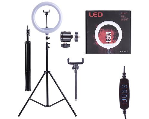 Кольцевая лампа SL-3012 с держателем для телефона, шарниром и штативом 1.9 м, диаметр 30 см
