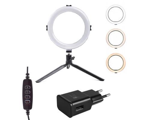 Кольцевая лампа LED SL-208 c настольной треногой, шарниром, адаптером, диаметр 20 см
