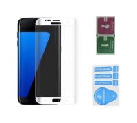 Защитное стекло для Samsung Galaxy S7 (вид - 3D, белая рамка, в комплекте салфетка и стикер)