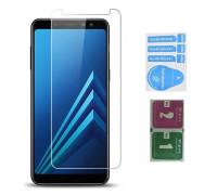 Защитное стекло для Samsung Galaxy A8 2018 (вид - 2.5D, в комплекте салфетка и стикер)