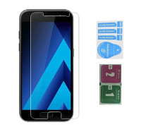 Защитное стекло для Samsung Galaxy A3 2017 (вид - 2.5D, в комплекте салфетка и стикер)