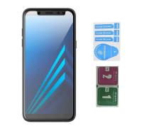 Защитное стекло для Samsung Galaxy A6 2018 (вид - 2.5D, в комплекте салфетка и стикер)