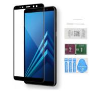Защитное стекло для Samsung Galaxy A8 Plus (вид - 5D полная проклейка, черная рамка, в комплекте салфетка, стикер и гель для подклейки)