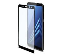 Защитное стекло для Samsung Galaxy A8 2018 (вид - 3D, черная рамка, комплектация эконом)
