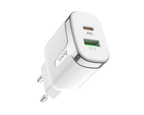 Сетевое зарядное устройство Hoco C79A Zeus USB/Type-C с быстрой зарядкой, белое