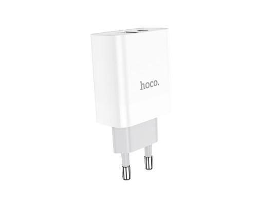 Сетевое зарядное устройство Hoco C80A Rapido USB/Type-C с быстрой зарядкой, белое