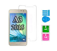Защитное стекло для Samsung Galaxy A3 2015 (вид - 2.5D, в комплекте салфетка и стикер)