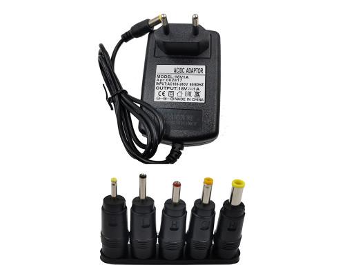 Блок питания 18V 1A 5.5x2.5 с адаптерами