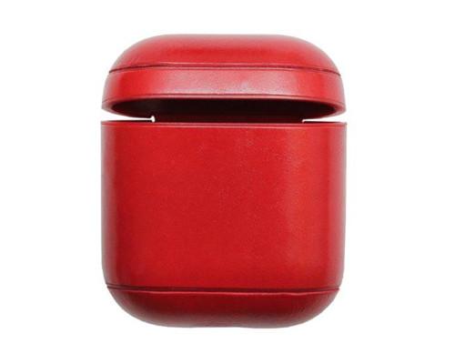 Кожаный чехол для Airpods натуральная кожа красный