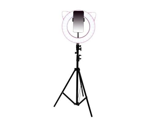 Кольцевая лампа CAT с держателем для смартфона, со штативом, форма лампы Кошка, диаметр лампы - 28 см, розовая