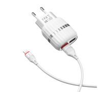 Сетевое зарядное устройство Borofone BA24A Vigour с кабелем Lightning, 2 USB, 2.4А, белое