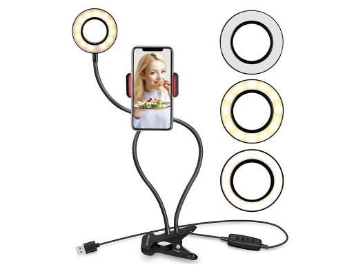 Кольцевая лампа с держателем для смартфона на гибком штативе, размер кольца - 8.5 см, черная