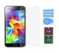Защитное стекло для Samsung Galaxy S5 Mini (вид — 2.5D, в комплекте салфетка и стикер)