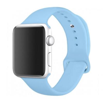 Ремешок Premium для Apple Watch 38 - 40 мм силиконовый голубой