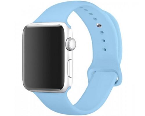 Ремешок для Apple Watch 42 - 44 мм силиконовый голубой