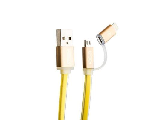 Кабель для зарядки и синхронизации CoteetCI M15 2 в 1 Lightning & microUSB cable плоский (1.0 м), цвет Gold