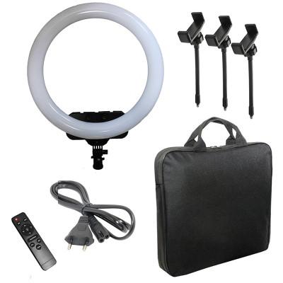 Кольцевая селфи лампа RL-19 с пультом, тремя держателями для смартфона, сумкой, диаметр 45 см