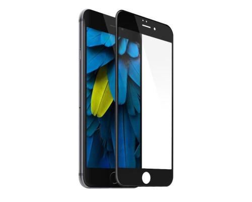 Защитное стекло для iPhone 8 Plus Anti-Microbial (вид — 3D, черная рамка, в комплекте салфетка и стикер)