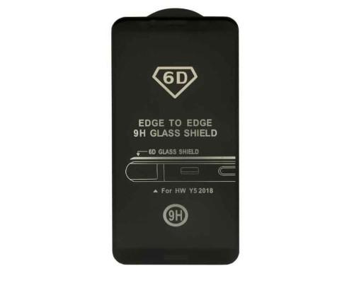 Защитное стекло для Huawei Y5 2018 (вид — 6D, черная рамка, в комплекте салфетка и стикер)